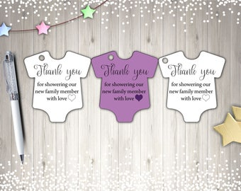 Thank You Tags, Baby Shower Tags, Printable Tags, Purple Tags, Instant Download