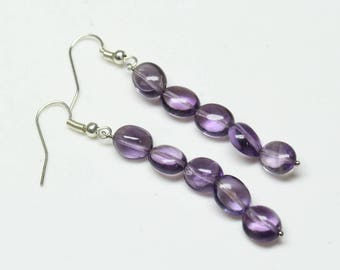 "Natural Brazil Amethyst Oval Tumbles Steel Dangle Earrings Total Weight 22 Carats, 2"" Inches, gemstone Size- 7x9 MM Approx Code-HN07"
