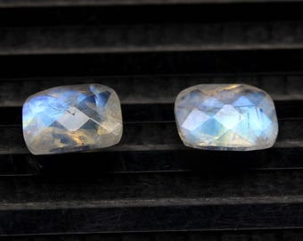 Natural Rainbow Moonstone Blue Flash fire Size 6x8 MM Approx 2 PCs Pair Faceted Checker Cushion Rainbow Code- HR24