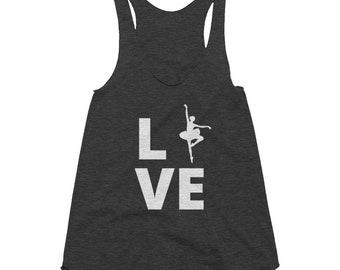 Ballet Love Tee   Ballet Dancer T-Shirt   Women's Tri-Blend Racerback Tank