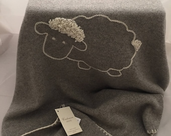 100% Cashmere Grey  Embroidered White sheep Customizable with Initials Blanket Cover