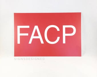 """6"""" x 9"""" Red  """"FACP"""" Fire Alarm Control Panel Sign"""