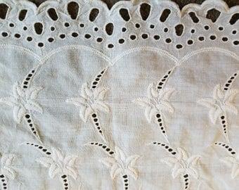 Vintage cotton eyelet dresser scarf