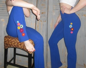 Tall Gypsy Pants, Bohemian, Flare Leg, Embellished, Embroidered, Decorated, Crocheted Appliques