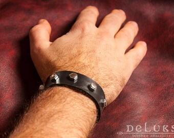 stainless steel rivets , Motorcycle Bracelet - Studded Genuine Leather Motorcycle Buckle Bracelet - Biker Bracelet , unisex