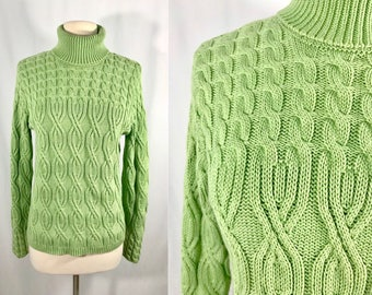 Spring Green Cable Knit Fishermans Sweater || Vintage Clothing || Turtleneck Sweater || Gift for Women
