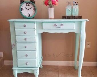 vanity desk. SOLD  Vintage Jewelry Vanity Desk Solid Wood Chalk Painted in Sea Glass Green desk Etsy
