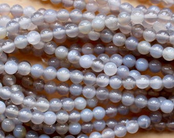6mm Cloudy Gray Agate beads, grade A, full strand, natural stone beads, round, 60026
