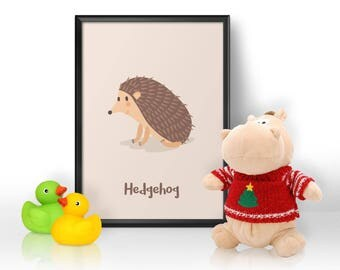 Nursery Print, Nursery Wall Art, Hedgehog Print, Animal Print, Gift for Baby, Gift for a Baby Girl, Gift for a Baby Boy, Child's Bedroom