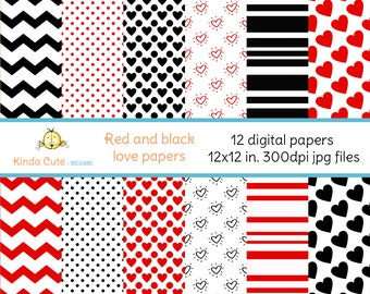 Set of 12 digital love papers in red and black colors. Chevron digital papers, dot digital papers and heart digital papers.