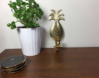 Brass Vintage Mid Century Pineapple Wall Sconce Candle Holder Decor Hollywood Regency Luxe