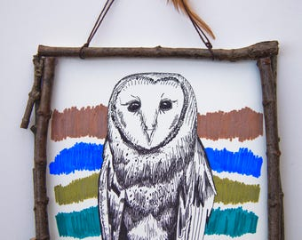 Owly ORIGINAL Drawing, Branch Frame