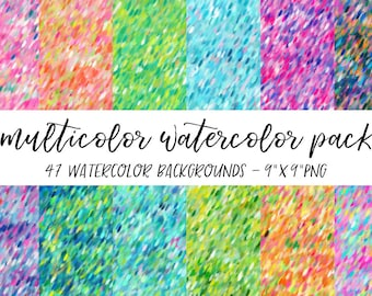 Watercolor Backgrounds Pack, Textures Bundle, Watercolor Digital Paper, Multicolor Background, Multicolor Watercolor Background