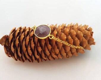 Amethyst Bracelet gilded Genuine amethyst purple purple Goldsmith