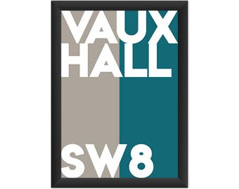 Vauxhall Typography SW8 - Giclée Art Print - South London Poster