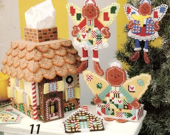 Vintage Plastic Canvas Gingerbread Angels Patterns Book Holiday Christmas Craft PDF Instant Digital Download Ornaments Tissue Box Wreath