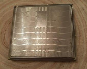 Small square vintage cigarette case -silver plate