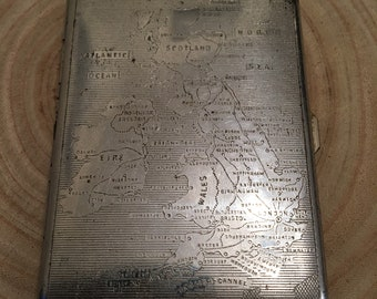 Vintage Polo cigarette case with UK map engraving