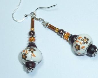"""nature autumn"" Silver Earring jewelry Murano"