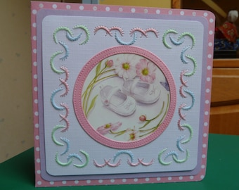 baby girl, hand embroidered card, applied booties