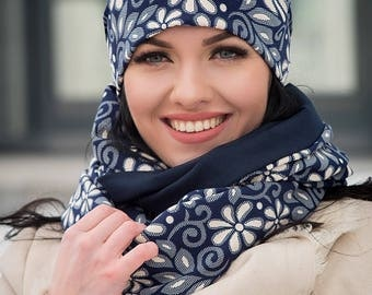 Dark Blue Set Hat with Floral Print and Infinity Scarf Large Wraparound Warm Winter Beanie Neckwarmer Scarf Christmas Gift For Her