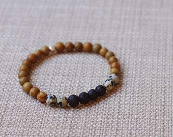 Wood Jasper / Dalmatian Jasper / Lava Bead Diffuser Bracelet