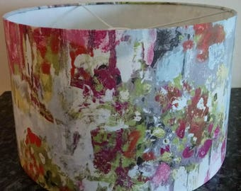 Lampshade / Fabric Lampshades / Handmade / Oil Painted Style / Abstract Lamp / For Ceiling / For Floor Lamp / Light Shade / Drum