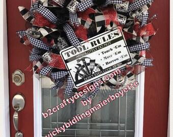 Tools rule wreath, Wreath, everyday, man cave, shop, bama, red, black, houndstooth, ribbon, mesh, versatile, tools, deco mesh,