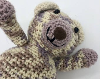 Small Crochet Teddy Bear, Amigurumi Bear, Teddy bear Plush Toy, Crocheted Bear, 100% Wool Yarn