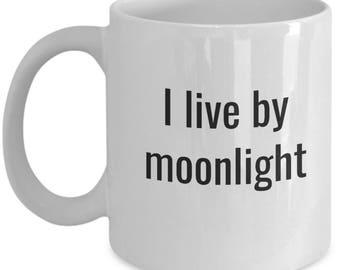 moon magick, moon magic, white ceramic mug, ceramic coffee mug, statement mugs, mugs, coffee mug, moon mug, moonlight lover, moonlight live