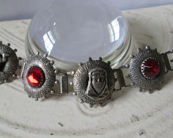 "Vintage Egyptian Theme BRACELET *silvertone*7-1/2"" long"