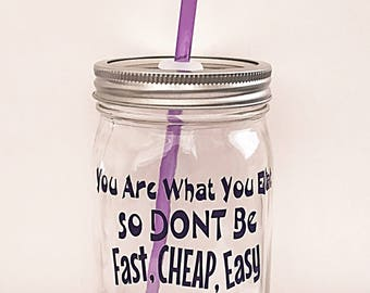 Mason Jar Tumbler, Mason Jar Drinkware, Mason Jar Glassware, BPA Free, Clean Eating, Clean, Novelty, Gift, Health, Fitness, Wellness