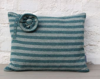 Unique, Cashmere Mix, Green & Grey Striped 'Eco' Cushion - 36 x 44cm, super-soft with Button Detail and Removable Matching Corsage. Pad incl