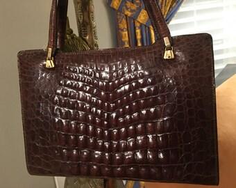Vintage Alligator Handbag - Glossy Brown