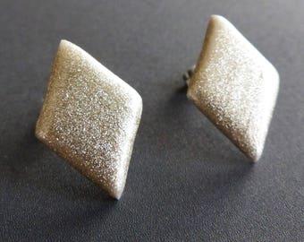 Gold Shimmer Stud Earrings - Large 23mm Diamond - Glitter Sparkle Christmas New Year Party Fine Powder - Stainless Steel Handmade