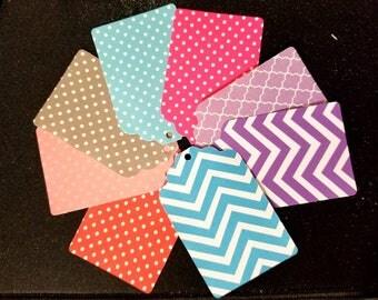 Polka dot and chevron patterned tags