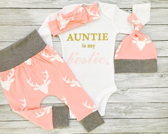 Aunt Baby Clothes Aunt Gift Aunt Shirts I Love My Aunt Baby Gift For Niece Baby Girl Clothes Aunt Aunt Baby Gift Auntie Is My Bestie