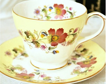 Duchess Yellow Floral Teacup and Saucer Fine Bone China England
