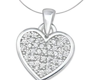 Silver Heart Pendant With Cubic Zirconias