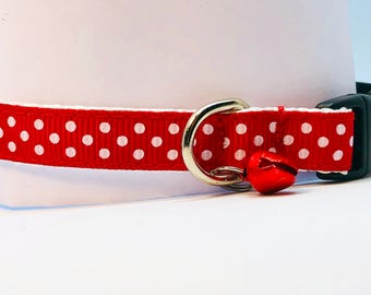 Cat Collar - Red Polkadot Safety Breakaway Collar and Bell