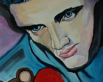 Elvis teddy bear acrylic stretched canvas painting