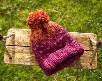 Hand Knitted Chunky Hat- Recurrent and Copper
