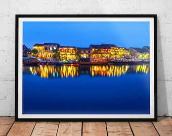 Colorful Vietnam Village Photo // Asia Travel Photography Print, Hoi An Riverside Town, Blue Wall Art, Asian Home Decor, Blue Waterscape