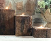 3 Piece Pine Candle Holder Set | Reclaimed Wood Rustic Candle Holders