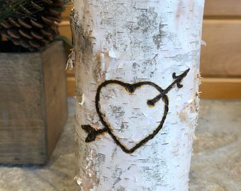 Artisan Wood-Burned Birch | Tealight Candle Holder | Rustic Heart with Arrow