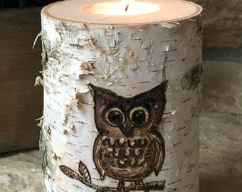 Artisan Wood-Burned Birch | Tealight Candle Holder | Owl on Branch