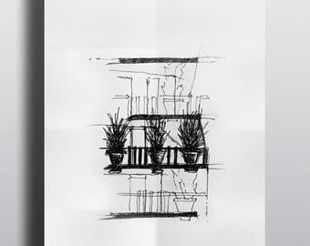 Architectural sketch Series Paris Flower Tower Limited edition