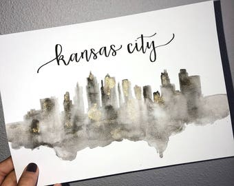 Kansas City Calligraphy Watercolor Skyline