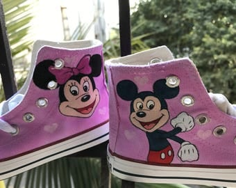 Mickey Mouse Shoes For Kids Mickey and Minnie Custom Painted Shoes Mickey Mouse Gift Mickey Mouse Birthday Outfit