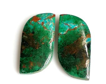 Chrysocolla Fancy Pair Cabochon,Size- 23x11 MM, Natural Chrysocolla, AAA,Quality  Loose Gemstone, Smooth Cabochons.